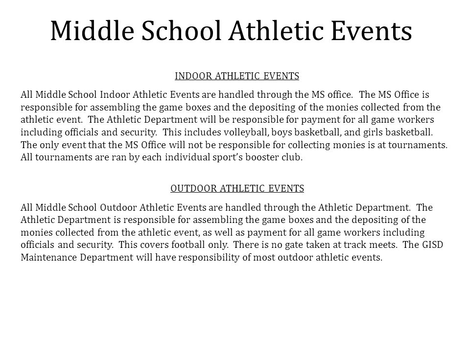 Middle School Athletic Events INDOOR ATHLETIC EVENTS All Middle School Indoor Athletic Events are handled through the MS office. The MS Office is resp