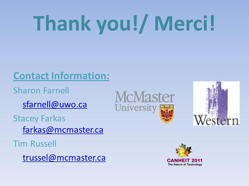 Thank you!/ Merci! Contact Information: Sharon Farnell sfarnell@uwo.ca Stacey Farkas farkas@mcmaster.ca farkas@mcmaster.ca Tim Russell trussel@mcmaste