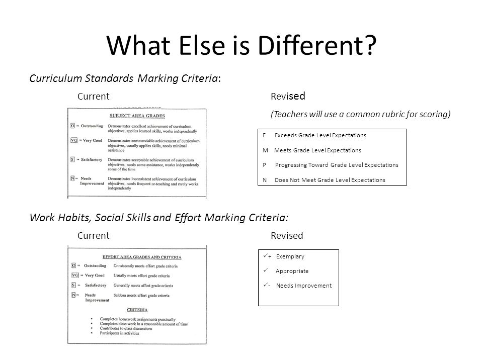 What Else is Different? Curriculum Standards Marking Criteria: CurrentRevi sed (Teachers will use a common rubric for scoring) Work Habits, Social Ski