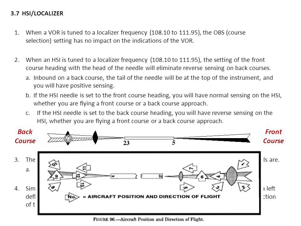 3.7HSI/LOCALIZER 1.When a VOR is tuned to a localizer frequency (108.10 to 111.95), the OBS (course selection) setting has no impact on the indication