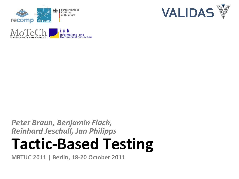 Tactic-Based Testing Peter Braun, Benjamin Flach, Reinhard Jeschull, Jan Philipps MBTUC 2011 | Berlin, 18-20 October 2011