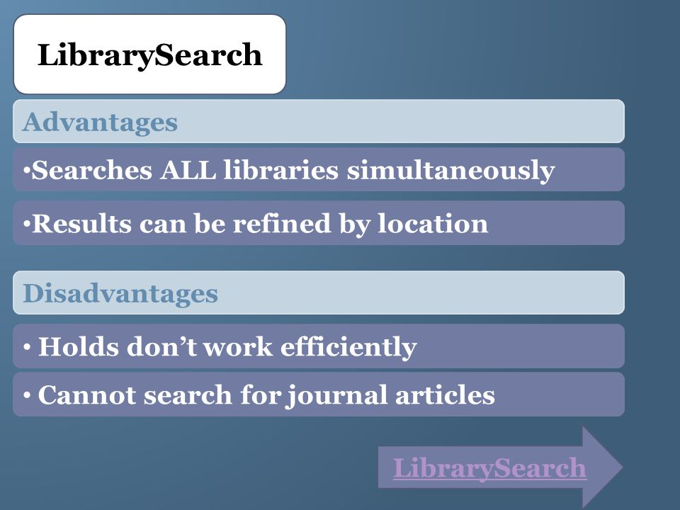 LibrarySearch Advantages Searches ALL libraries simultaneously Results can be refined by location Disadvantages Holds dont work efficiently Cannot sea