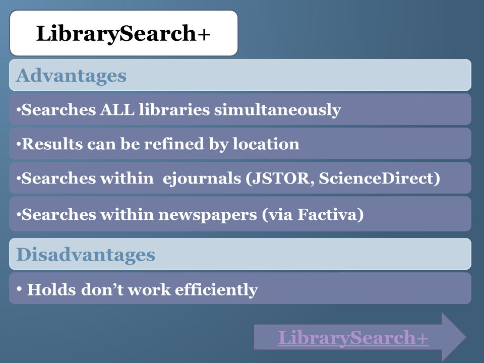 Searches within newspapers (via Factiva) Searches within ejournals (JSTOR, ScienceDirect) LibrarySearch+ Advantages Searches ALL libraries simultaneously Results can be refined by location Disadvantages Holds dont work efficiently LibrarySearch+