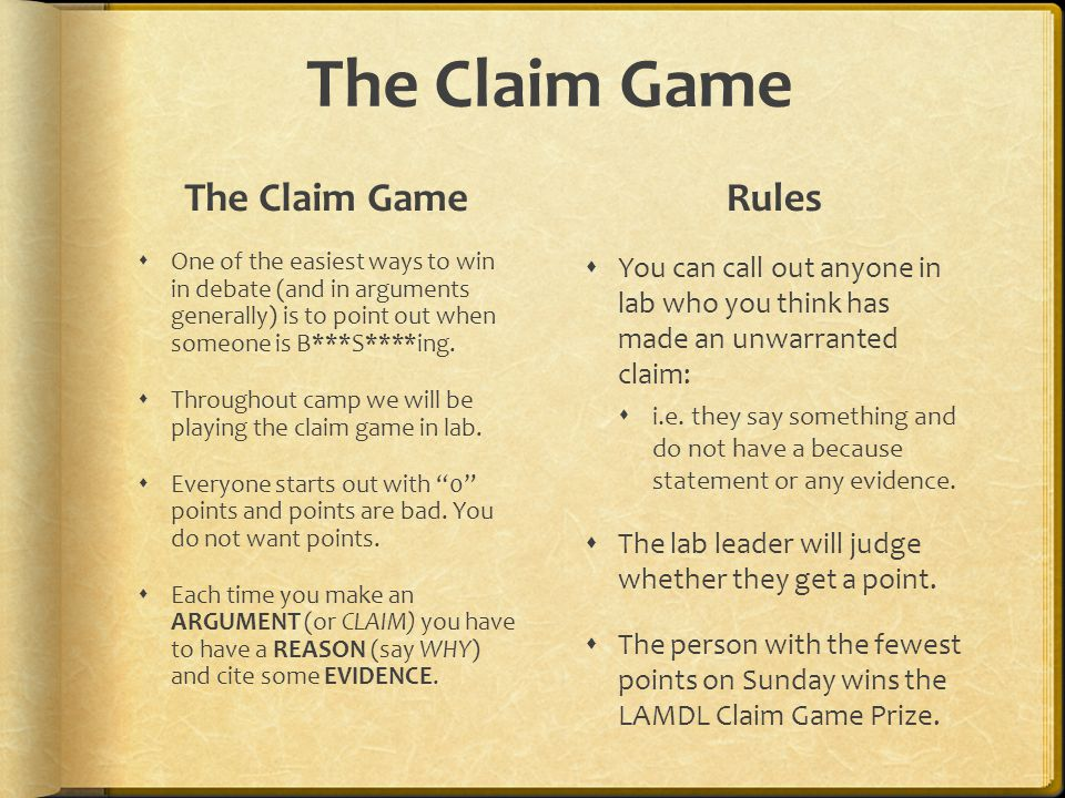 The Claim Game One of the easiest ways to win in debate (and in arguments generally) is to point out when someone is B***S****ing. Throughout camp we