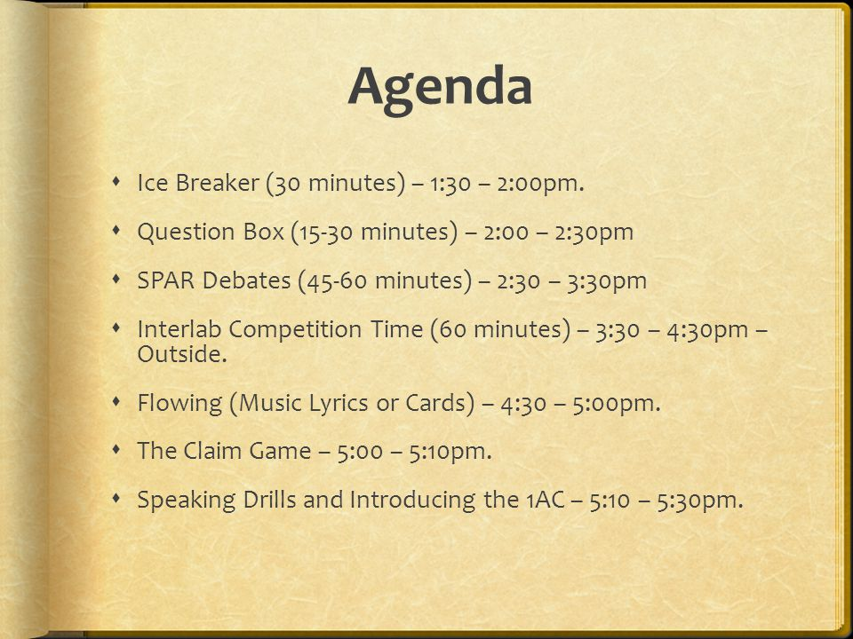 Agenda Ice Breaker (30 minutes) – 1:30 – 2:00pm. Question Box (15-30 minutes) – 2:00 – 2:30pm SPAR Debates (45-60 minutes) – 2:30 – 3:30pm Interlab Co
