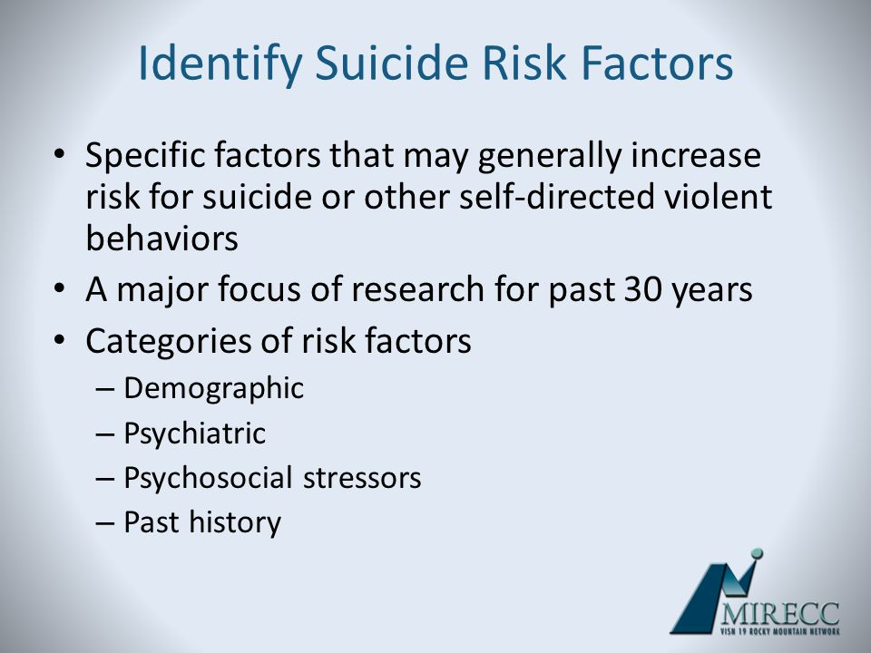 Identify Suicide Risk Factors Specific factors that may generally increase risk for suicide or other self-directed violent behaviors A major focus of