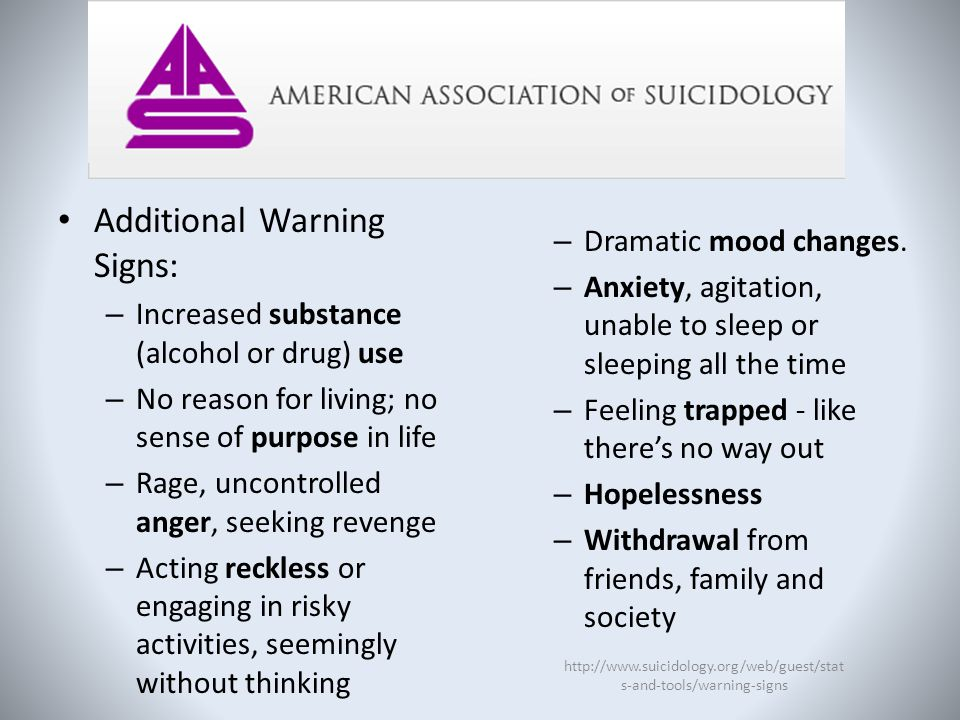 Additional Warning Signs: – Increased substance (alcohol or drug) use – No reason for living; no sense of purpose in life – Rage, uncontrolled anger,