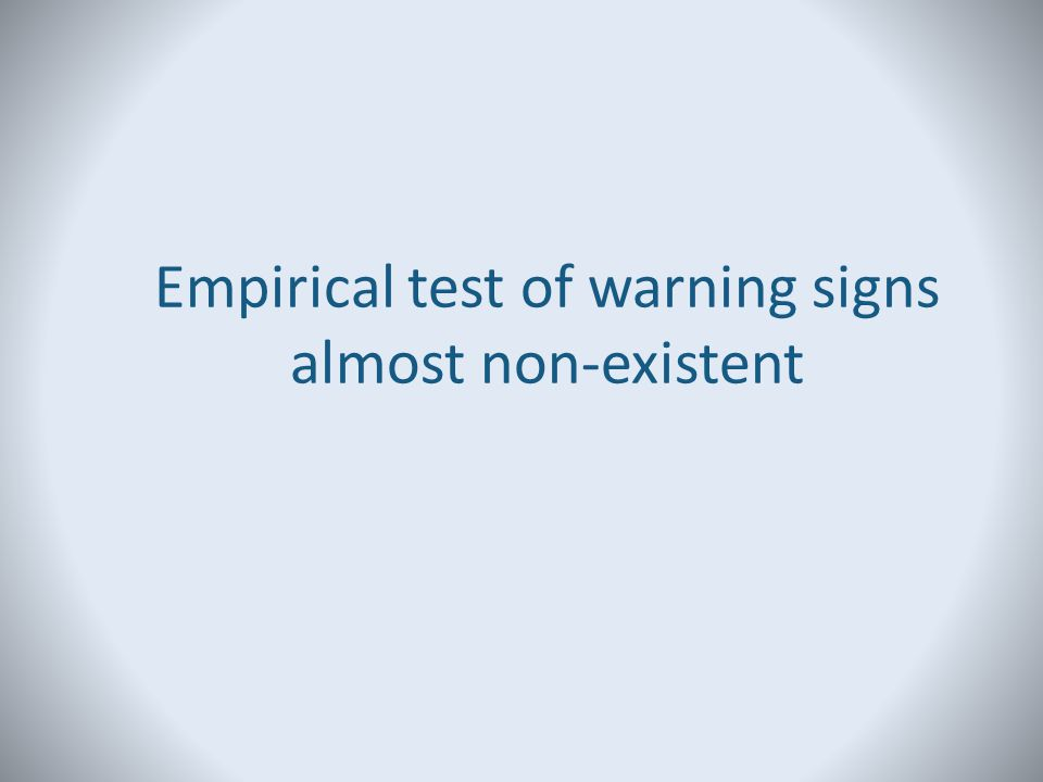 Empirical test of warning signs almost non-existent