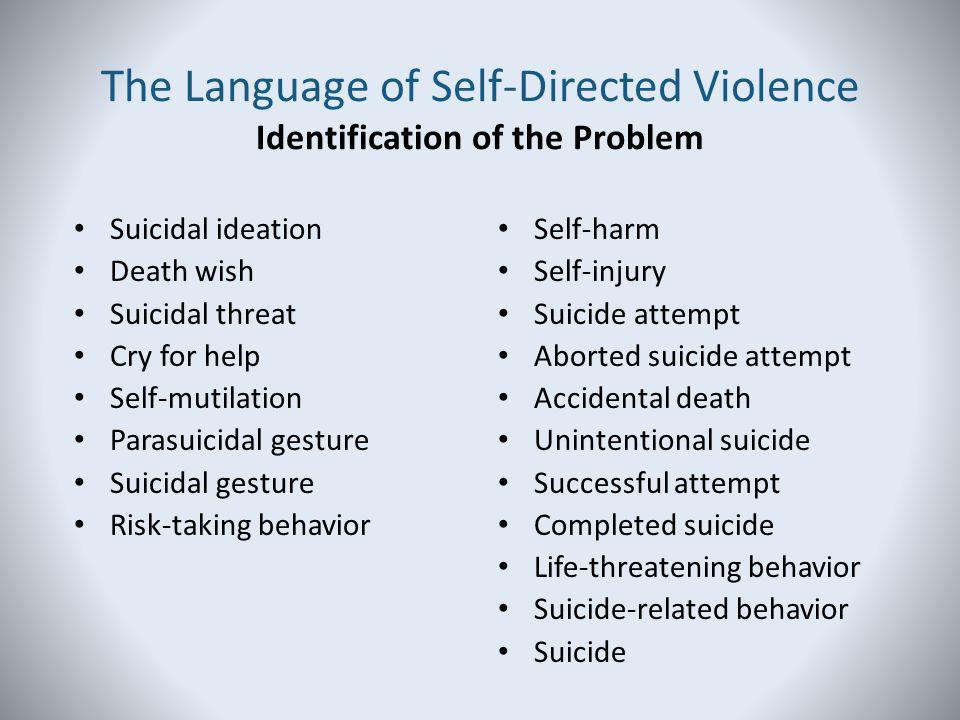 Suicidal ideation Death wish Suicidal threat Cry for help Self-mutilation Parasuicidal gesture Suicidal gesture Risk-taking behavior Self-harm Self-in