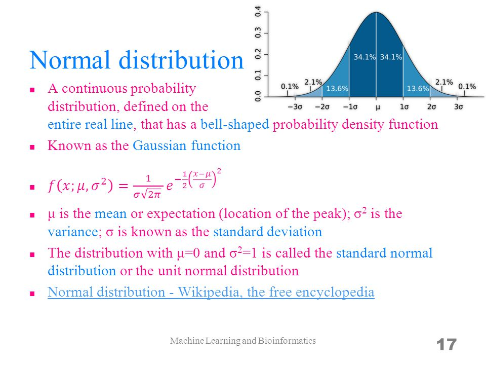 Normal distribution Machine Learning and Bioinformatics 17