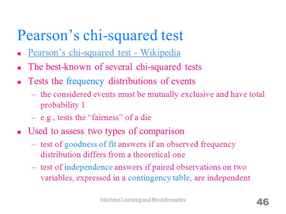 Pearsons chi-squared test Pearsons chi-squared test - Wikipedia The best-known of several chi-squared tests Tests the frequency distributions of event