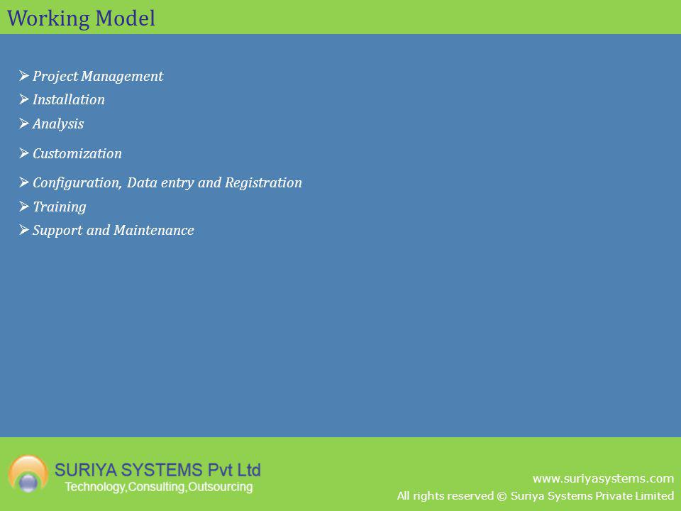 All rights reserved © Suriya Systems Private Limited www.suriyasystems.com Working Model Project Management Installation Analysis Customization Config