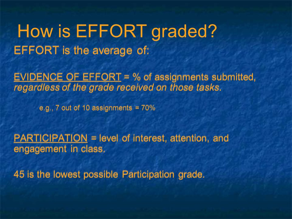 EFFORT is the average of: EVIDENCE OF EFFORT = % of assignments submitted, regardless of the grade received on those tasks.
