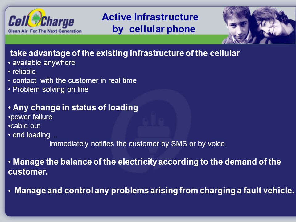 Active Infrastructure by cellular phone take advantage of the existing infrastructure of the cellular available anywhere reliable contact with the customer in real time Problem solving on line Any change in status of loading power failure cable out end loading..