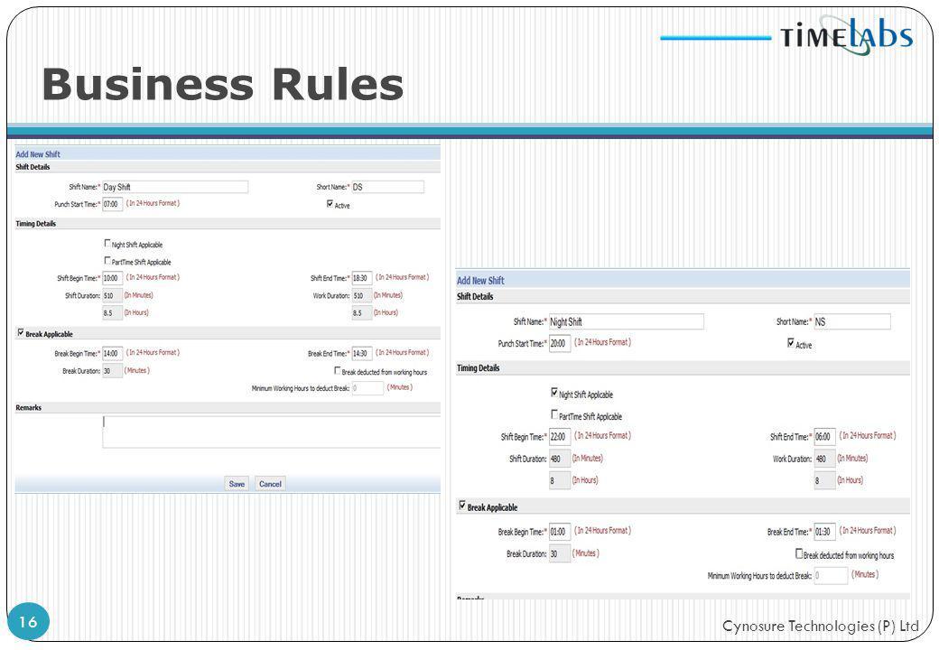 Cynosure Technologies (P) Ltd Business Rules 16