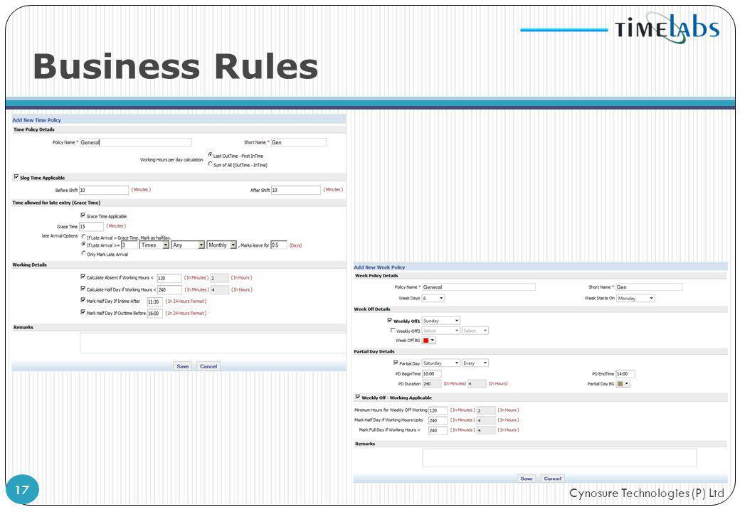 Cynosure Technologies (P) Ltd Business Rules 17