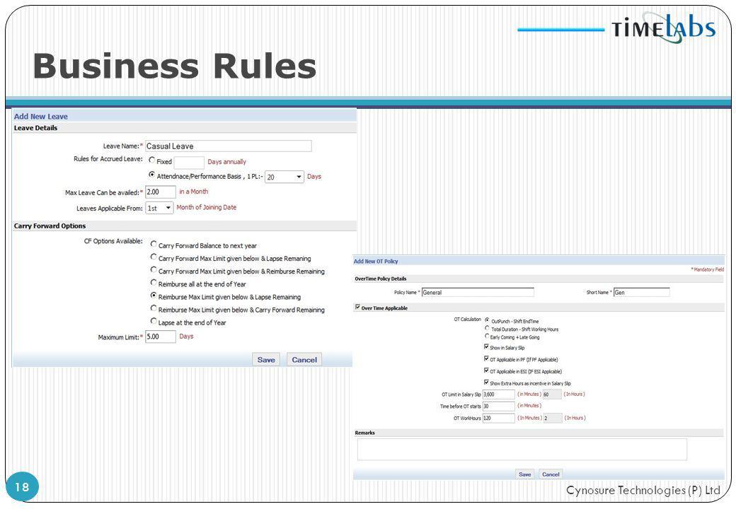 Cynosure Technologies (P) Ltd Business Rules 18