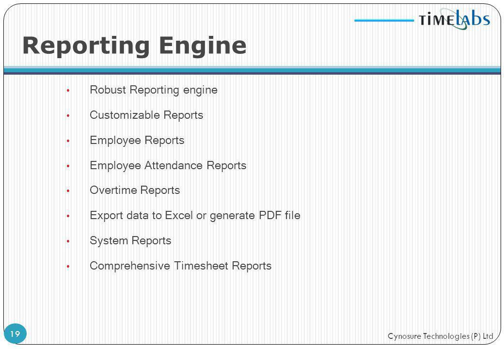 Cynosure Technologies (P) Ltd Reporting Engine Robust Reporting engine Customizable Reports Employee Reports Employee Attendance Reports Overtime Repo