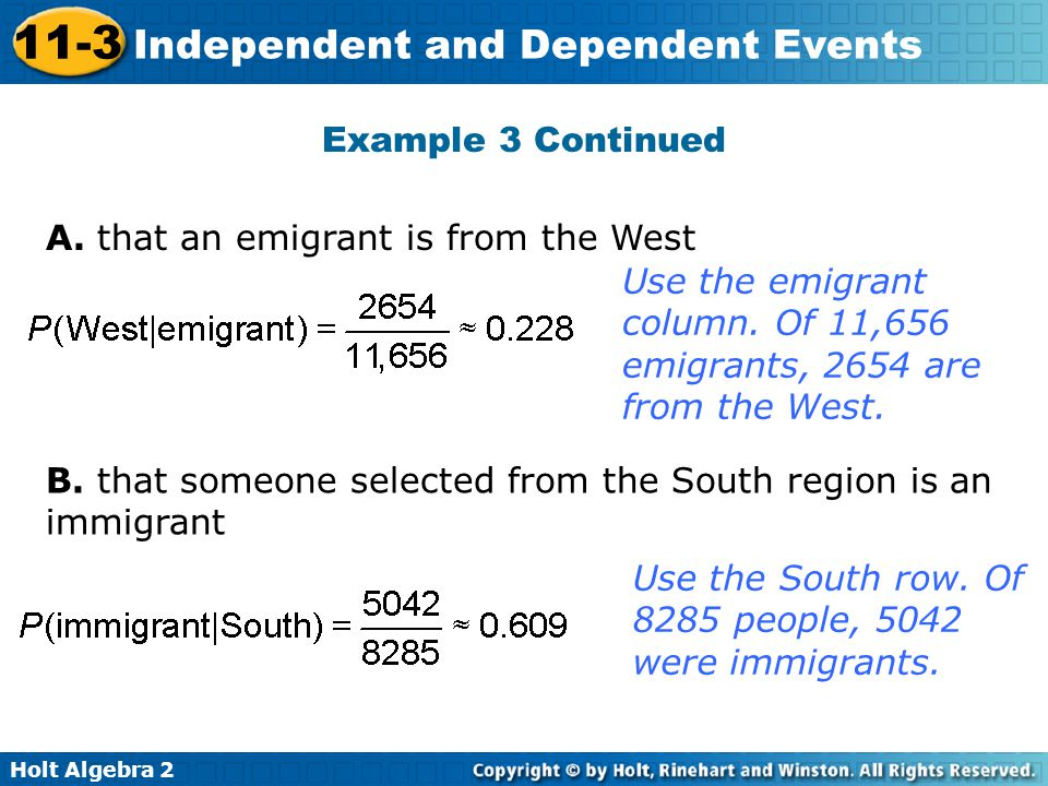 Holt Algebra 2 11-3 Independent and Dependent Events Example 3 Continued A. that an emigrant is from the West Use the emigrant column. Of 11,656 emigr
