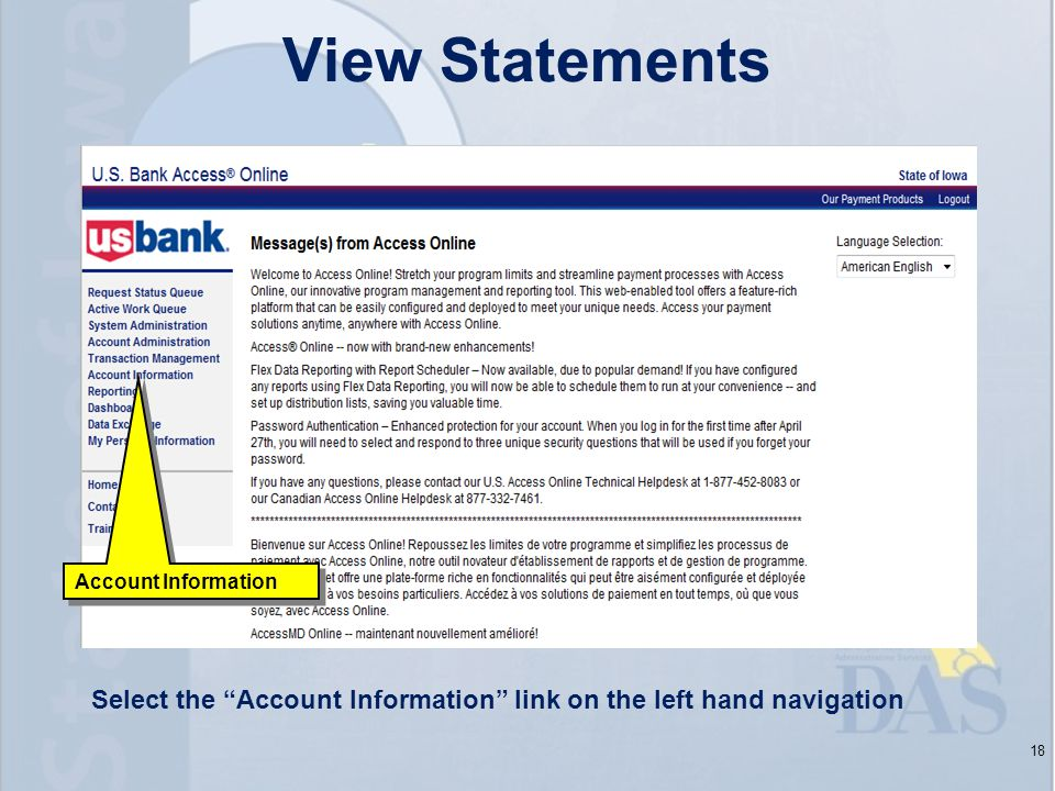 18 Account Information View Statements Select the Account Information link on the left hand navigation