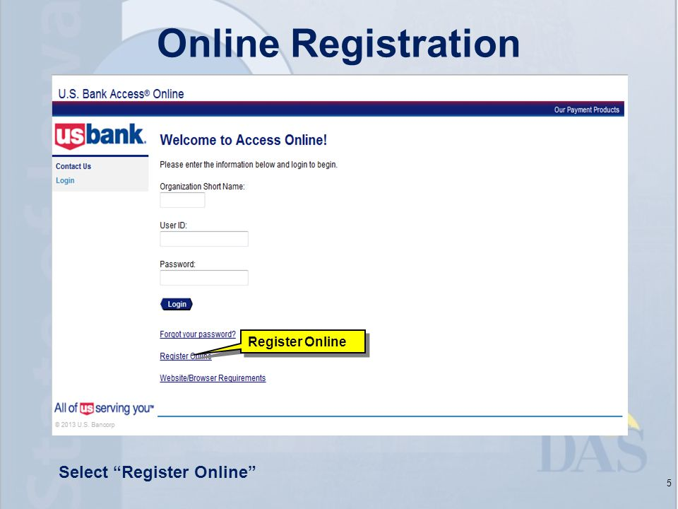 Online Registration 5 Select Register Online Register Online