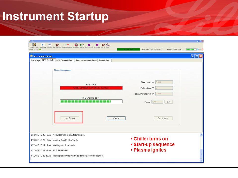 Instrument Startup Chiller turns on Start-up sequence Plasma ignites Chiller turns on Start-up sequence Plasma ignites
