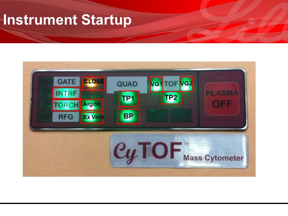 Instrument Startup TP1 TP2 VG1 VG2 BP Argon Ex Vent CLOSE