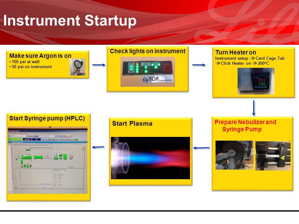 Instrument Startup Make sure Argon is on 100 psi at wall 50 psi on instrument Make sure Argon is on 100 psi at wall 50 psi on instrument Check lights