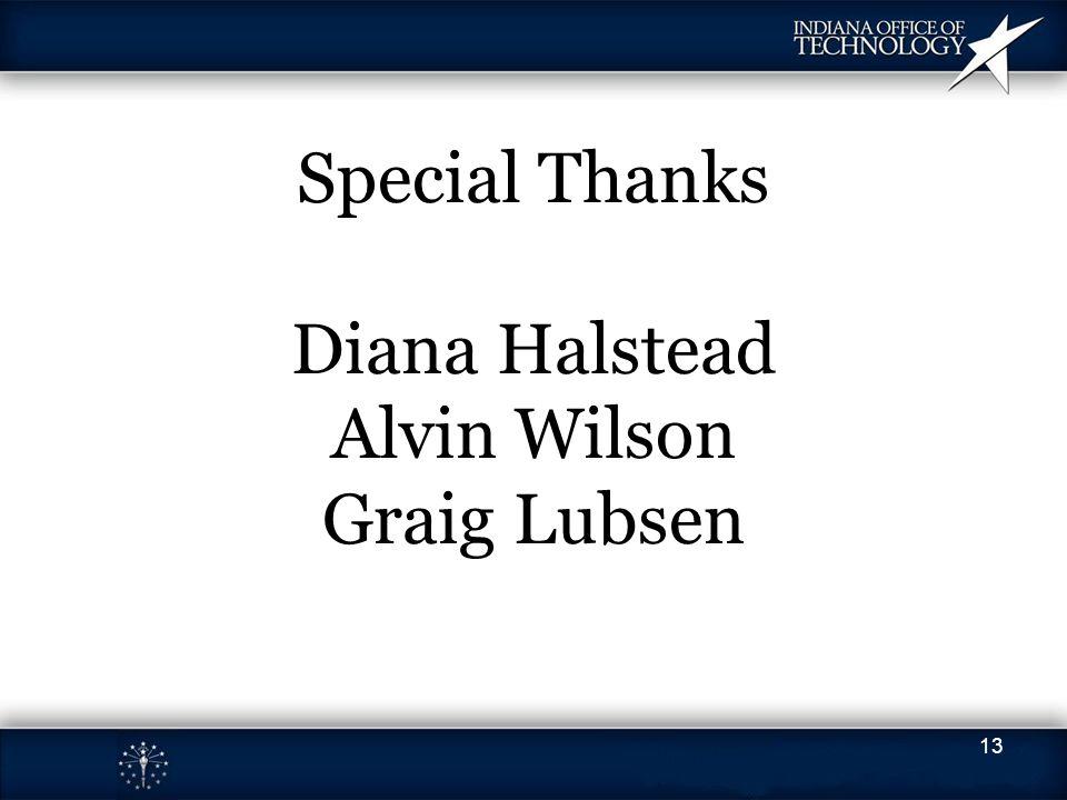 Special Thanks Diana Halstead Alvin Wilson Graig Lubsen 13