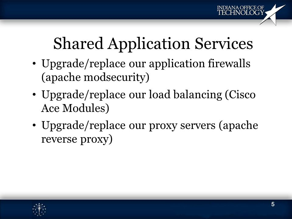 Shared Application Services Upgrade/replace our application firewalls (apache modsecurity) Upgrade/replace our load balancing (Cisco Ace Modules) Upgr