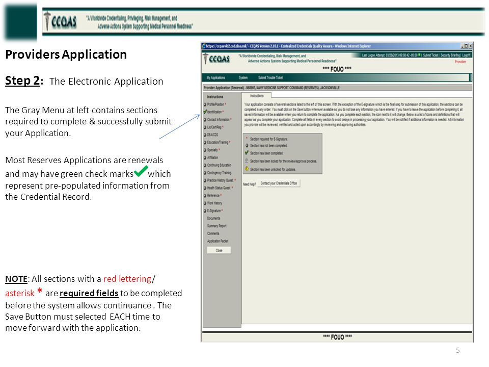 Providers Application Step 2 : The Electronic Application The Gray Menu at left contains sections required to complete & successfully submit your Appl