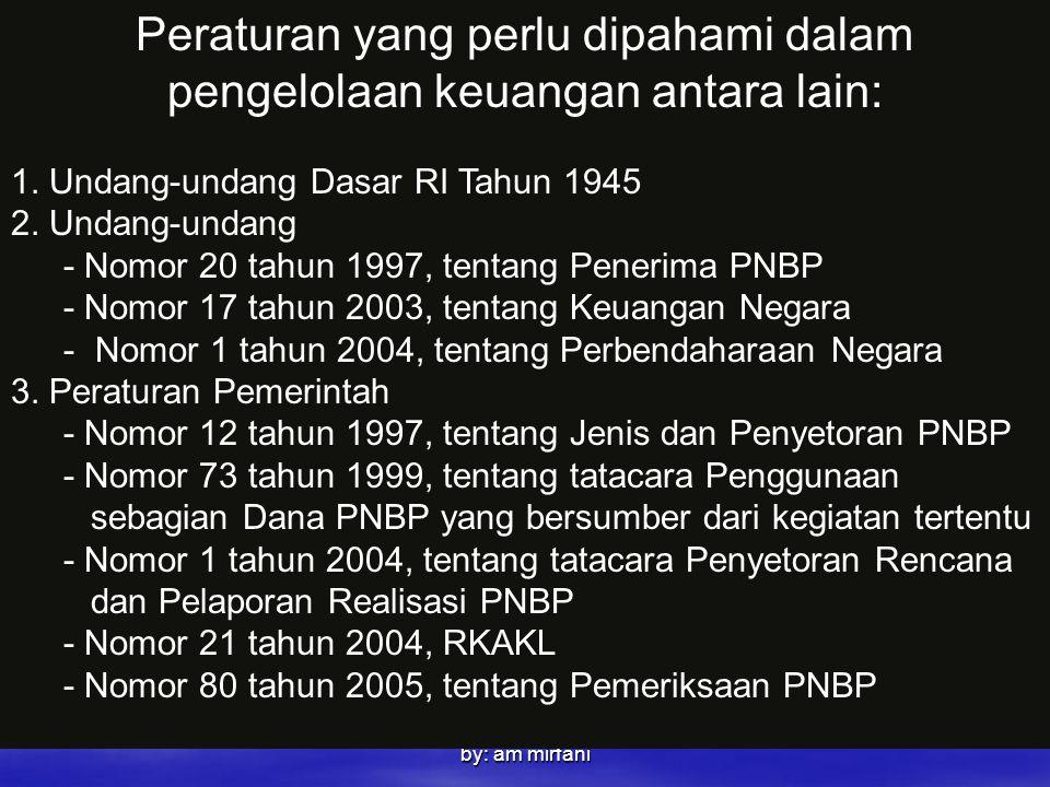 by: am mirfani Peraturan yang perlu dipahami dalam pengelolaan keuangan antara lain: 1. Undang-undang Dasar RI Tahun 1945 2. Undang-undang - Nomor 20