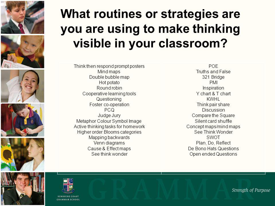 What routines or strategies are you are using to make thinking visible in your classroom.