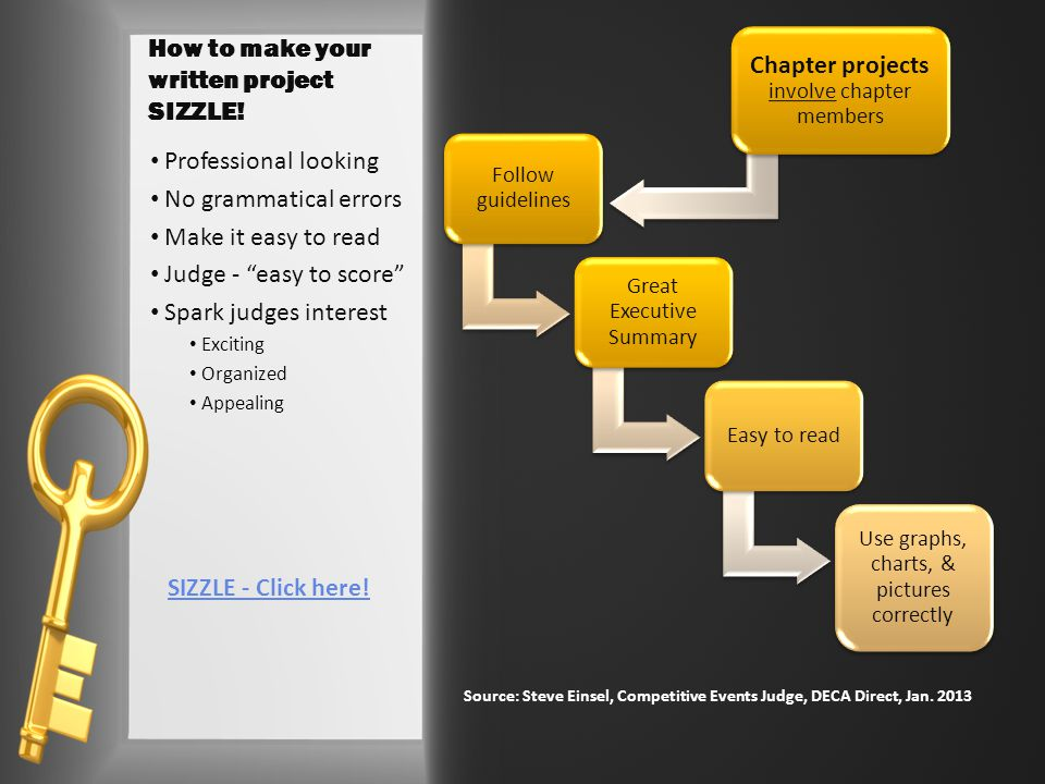 How to make your written project SIZZLE.