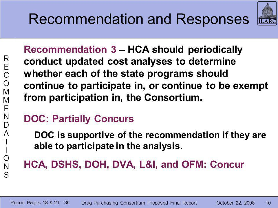 October 22, 2008Drug Purchasing Consortium Proposed Final Report10 Recommendation and Responses RECOMMENDATIONSRECOMMENDATIONS Recommendation 3 – HCA