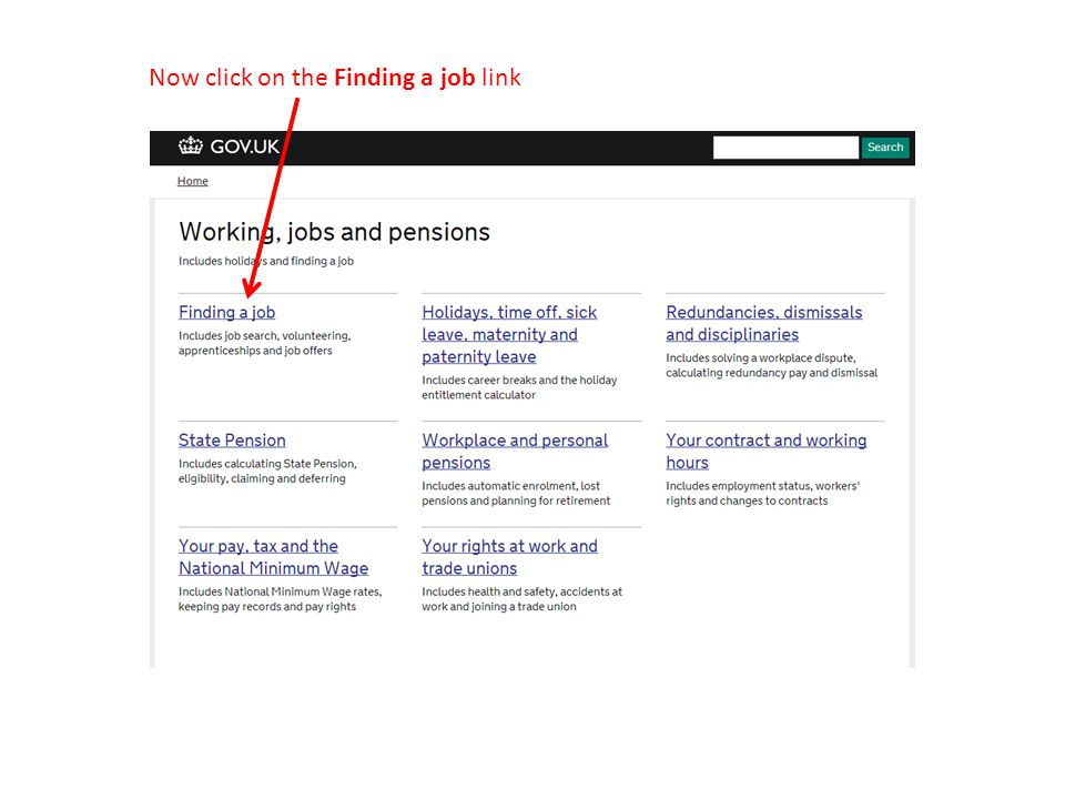 Now click on the Finding a job link
