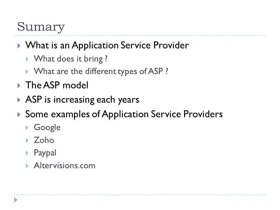 Sumary What is an Application Service Provider What does it bring .