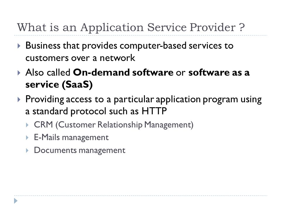 What is an Application Service Provider .