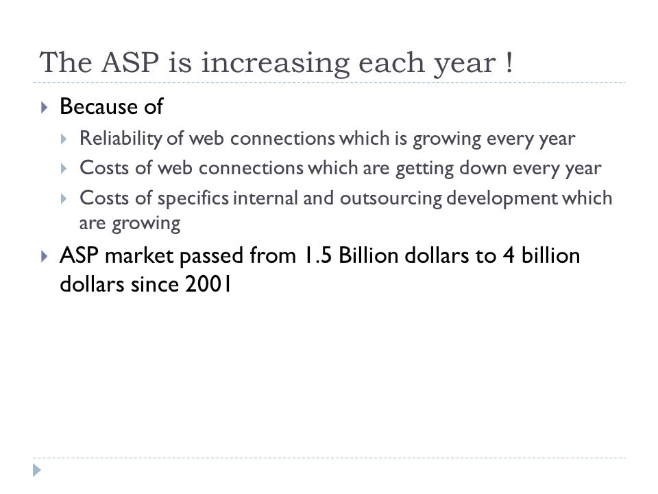 The ASP is increasing each year ! Because of Reliability of web connections which is growing every year Costs of web connections which are getting dow