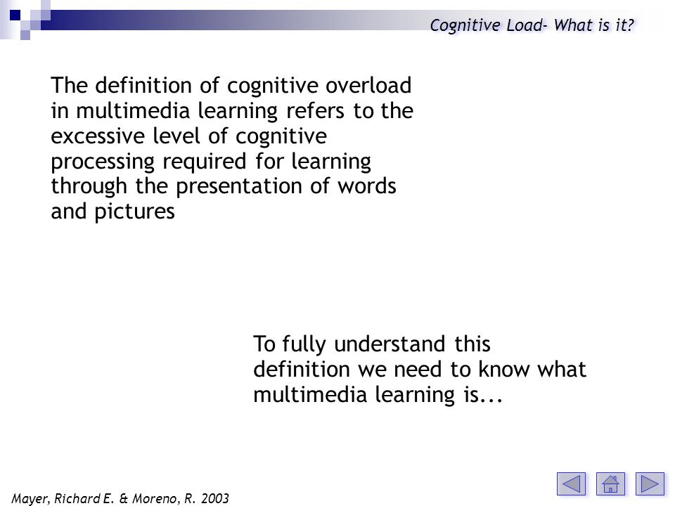 The definition of cognitive overload in multimedia learning refers to the excessive level of cognitive processing required for learning through the presentation of words and pictures To fully understand this definition we need to know what multimedia learning is...