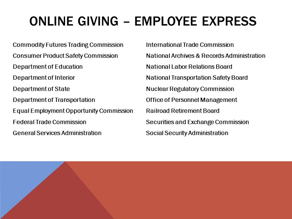 ONLINE GIVING – EMPLOYEE EXPRESS Commodity Futures Trading Commission Consumer Product Safety Commission Department of Education Department of Interior Department of State Department of Transportation Equal Employment Opportunity Commission Federal Trade Commission General Services Administration International Trade Commission National Archives & Records Administration National Labor Relations Board National Transportation Safety Board Nuclear Regulatory Commission Office of Personnel Management Railroad Retirement Board Securities and Exchange Commission Social Security Administration