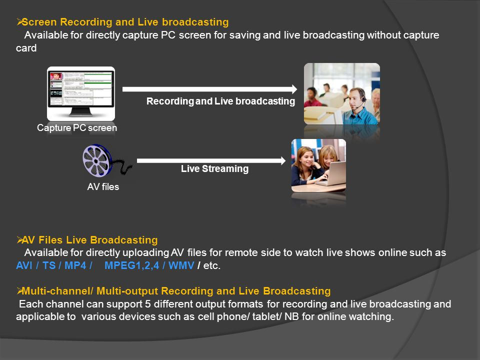 PTZ Camera Control Support Pelco_D / Pelco_P / VISCA control protocol to easily control speed dome camera through the interface Task Schedule Function Freely and easily to set schedule for automatically recording / live broadcasting Live Streaming Platform Support various OS (Operating System) for real-time watch such as Windows/ Mac/ Linux/ Android/ iOS