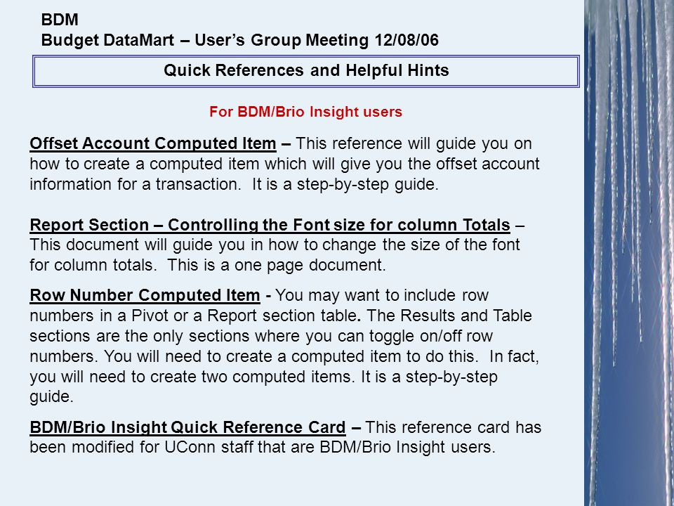 For BDM/Brio Insight users BDM Budget DataMart – Users Group Meeting 12/08/06 Quick References and Helpful Hints Offset Account Computed Item – This r