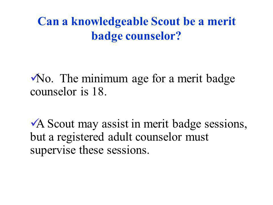 Can a knowledgeable Scout be a merit badge counselor? No. The minimum age for a merit badge counselor is 18. A Scout may assist in merit badge session