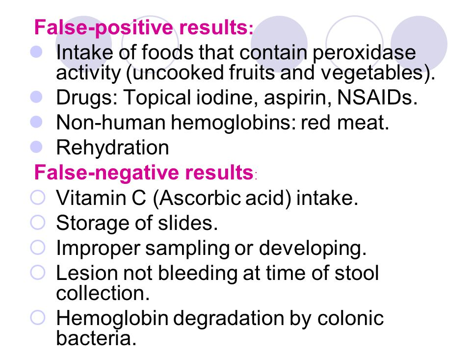 False-positive results : Intake of foods that contain peroxidase activity (uncooked fruits and vegetables). Drugs: Topical iodine, aspirin, NSAIDs. No
