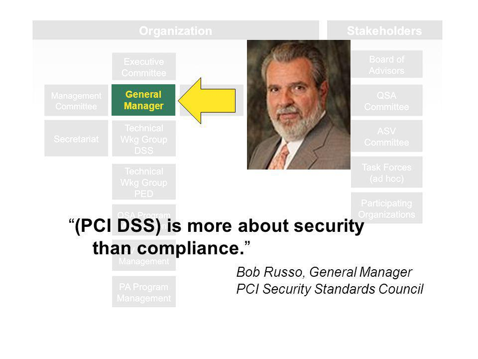 General Manager (PCI DSS) is more about security than compliance.