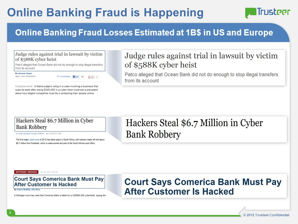 © 2012 Trusteer Confidential 3 Online Banking Fraud is Happening Online Banking Fraud Losses Estimated at 1B$ in US and Europe
