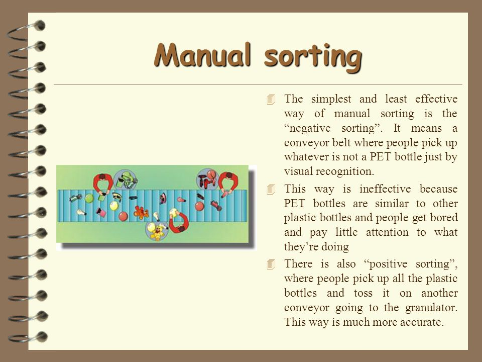 Manual sorting 4 The simplest and least effective way of manual sorting is the negative sorting.