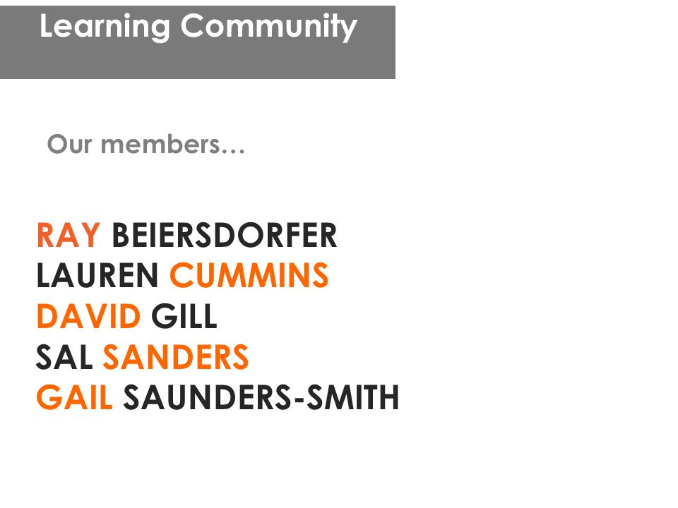 Learning Community RAY BEIERSDORFER LAUREN CUMMINS DAVID GILL SAL SANDERS GAIL SAUNDERS-SMITH Our members…