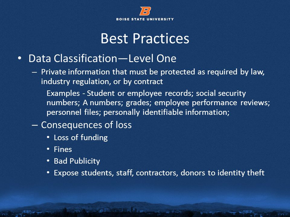 © 2012 Boise State University10 Best Practices Data ClassificationLevel One – Private information that must be protected as required by law, industry regulation, or by contract Examples - Student or employee records; social security numbers; A numbers; grades; employee performance reviews; personnel files; personally identifiable information; – Consequences of loss Loss of funding Fines Bad Publicity Expose students, staff, contractors, donors to identity theft
